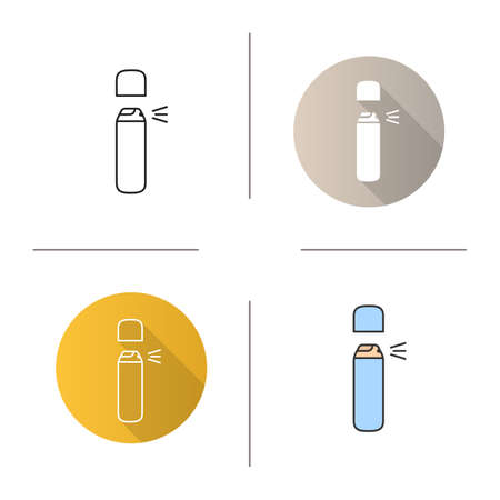 Spray antiperspirant icon. Flat design, linear and color styles. Deodorant. Isolated vector illustrations