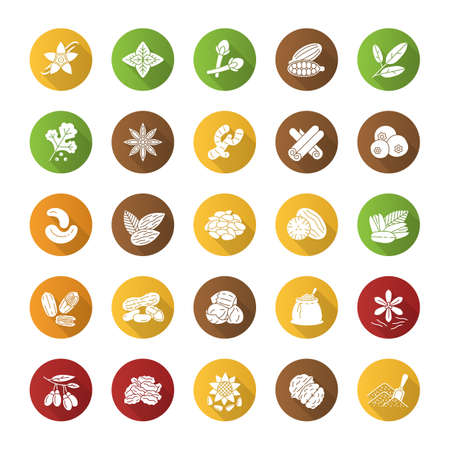 Spices flat design long shadow glyph icons set. Flavorings, seasonings. Peanut, vanilla, cardamom, anise, allspice. Vector silhouette illustration
