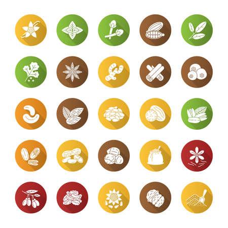 Zestaw ikon płaski długi cień glifów przyprawy. Dodatki smakowe, przyprawy. Orzechy ziemne, wanilia, kardamon, anyż, ziele angielskie. Ilustracja wektorowa sylwetka