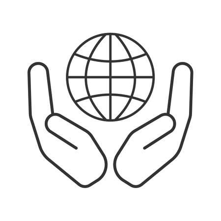 地球線形アイコンの付いたオープン手のひら。世界の医療。細い線の図。地球規模の問題を解決します。輪郭のシンボル。ベクトル分離外形図