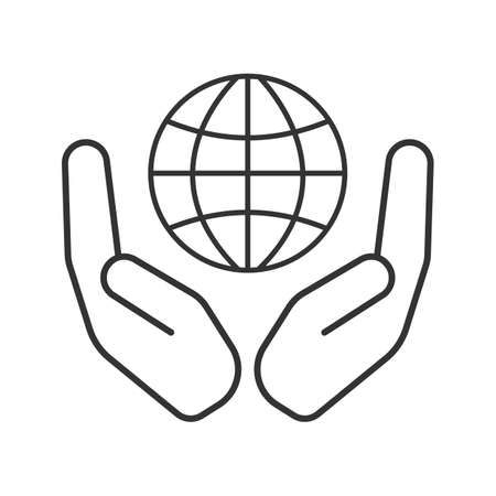 Open palms with globe linear icon. World care. Thin line illustration. Global problems solving. Contour symbol. Vector isolated outline drawing Ilustração