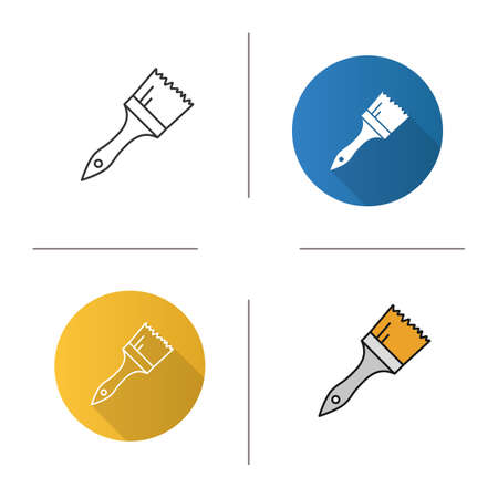 printmaking: Paint brush icon. Flat design, linear and color styles. Isolated vector illustrations