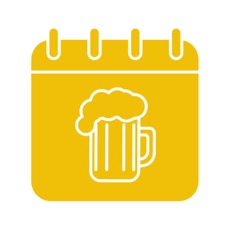 Oktoberfest date glyph color icon. Calendar page with beer glass. Silhouette symbol on white background. Negative space. Vector illustration