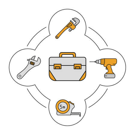 Tool box contents color icons set. Crescent and monkey wrenches, measuring tape, cordless drill. Construction tools. Isolated vector illustrations Illustration
