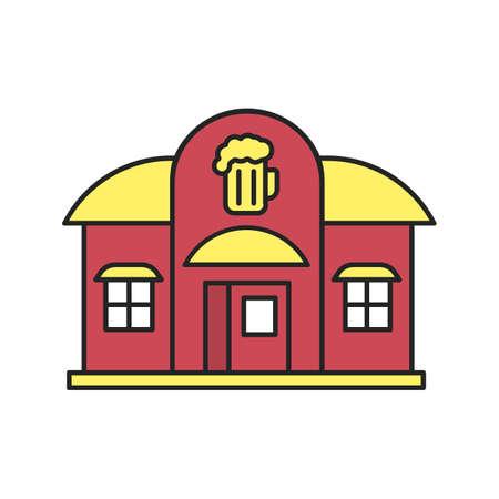 Alehouse, beerhouse color icon. Pub. Isolated vector illustration Illustration