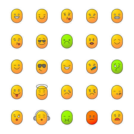 Smileys color icons set. Emoticons. Good and bad mood. Feelings, emotions. Isolated vector illustrations