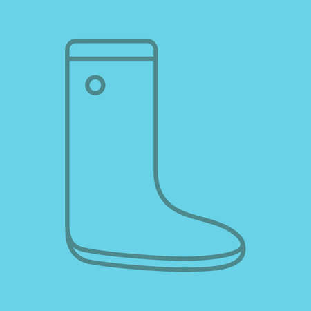 Rubber boot linear icon. Watertight. Thin line outline symbols on color background. Vector illustration Ilustrace
