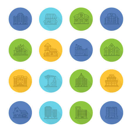 City buildings linear icons set. Town architecture. Shop, supermarket, cafe, factory, library. Thin line outline symbols on color circles. Vector illustrations