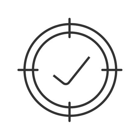 Aim on checkmark linear icon. Quality goal thin line illustration. Approved goods and services searching. Products certification and qualification contour symbol. Vector isolated outline drawing Illustration