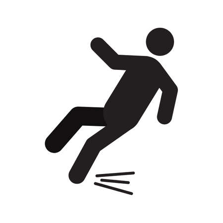 Man falling down silhouette icon. Slippery floor. Isolated vector illustration. Caution sign