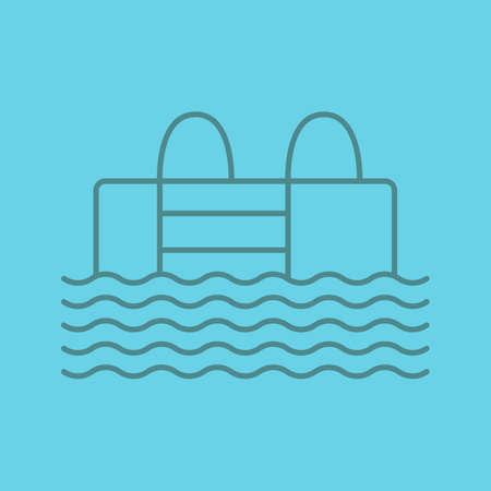 Swimming pool linear icon. Thin line outline symbols on color background. Vector illustration