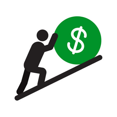 Man pushing dollar sign up silhouette icon. Hard work. Career growth. Isolated vector illustration