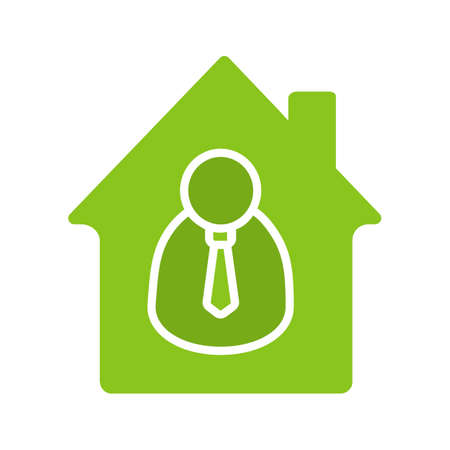 Broker, realtor glyph color icon. House with businessman inside. Silhouette symbol on white background. Negative space. Vector illustration Illustration