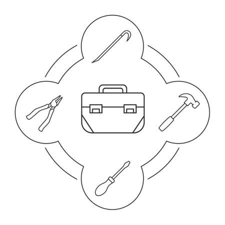 Tool box contents linear icons set. Construction tools. Pliers, crowbar, screwdriver, hammer. Isolated vector illustrations Illustration