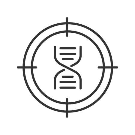 Aim on DNA chain linear icon. Genomic research thin line illustration. DNA sequencing contour symbol. Vector isolated outline drawing Illustration