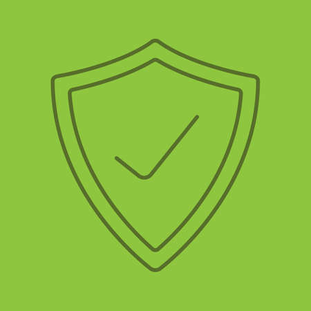 Security check linear icon. Protection shield with tick mark. Thin line outline symbols on color background. Vector illustration Illustration