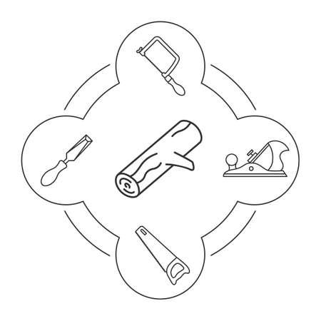Houten werkende hulpmiddelen lineaire geplaatste pictogrammen. Logging. Handzaag, puzzel, beitel, hefboomvliegtuig. Geïsoleerde vectorillustraties Stock Illustratie