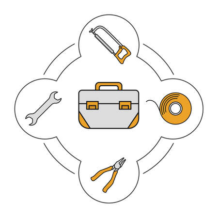 Tool box contents color icons set. Construction tools. Hacksaw, spanner, insulating tape, pliers. Isolated vector illustrations
