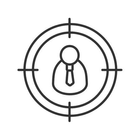 hombre flaco: Manager, admin searching linear icon. Aim on man with tie thin line illustration. Contour symbol. Staff searching. Vector isolated outline drawing
