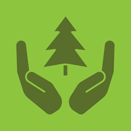 Open palms with fir tree glyph color icon. Saving forests. Silhouette symbol. Nature care. Negative space. Vector isolated illustration Illustration