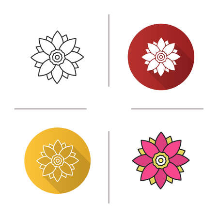 Lotus flower icon. Flat design, linear and color styles. Isolated vector illustrations Illustration