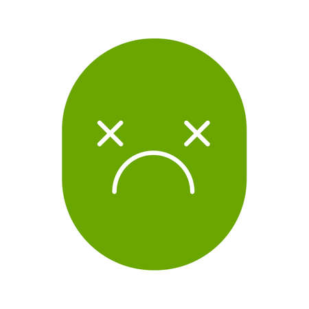 Dead smile glyph color icon. Tired, depressed face. Silhouette symbol on white background. Bad mood. Negative space. Vector illustration Illustration
