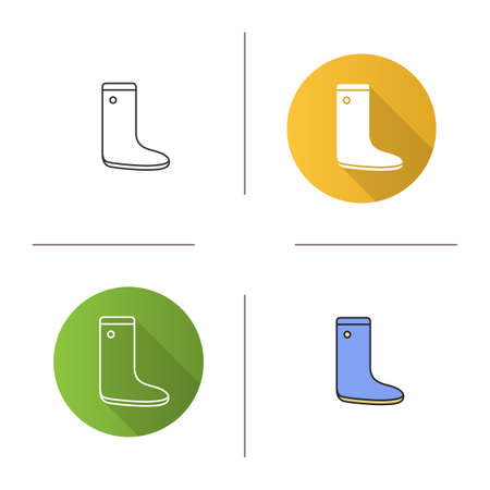 Watertight icon. Flat design, linear and color styles. Rubber boot. Isolated vector illustrations