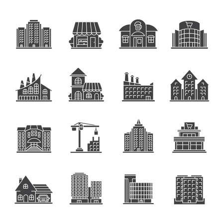 市建物のグリフ アイコンを設定します。町の建築。スーパー マーケット、博物館、カフェ、工場、図書館、ビジネス センター。シルエットのシン  イラスト・ベクター素材