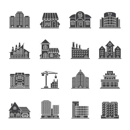 City buildings glyph icons set. Town architecture. Supermarket, museum, cafe, factory, library, business center. Silhouette symbols. Vector isolated illustration Illustration