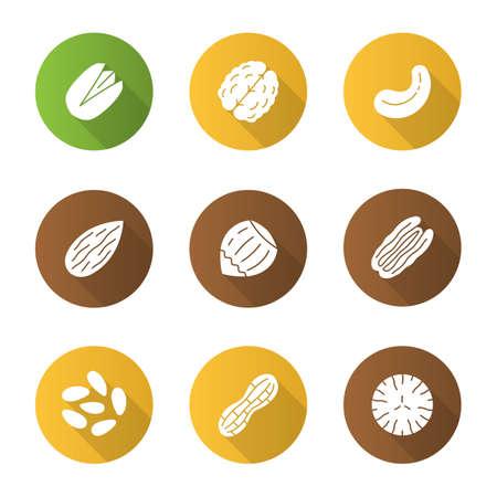 Nuts flat design icons set