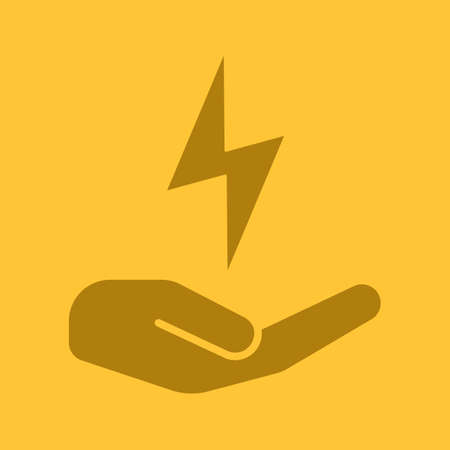 Open hand with lightning glyph color icon Illustration