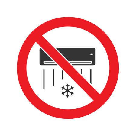 Forbidden sign with air conditioner glyph icon