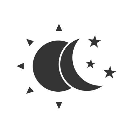 Sun and moon with stars glyph icon Illustration