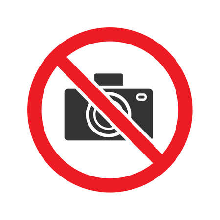 Forbidden sign with camera glyph icon