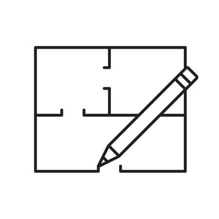 Grundriss lineare Ikone Vektorgrafik