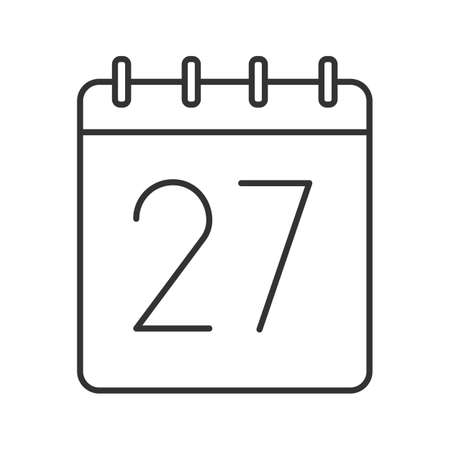 Twenty seventh day of month linear icon