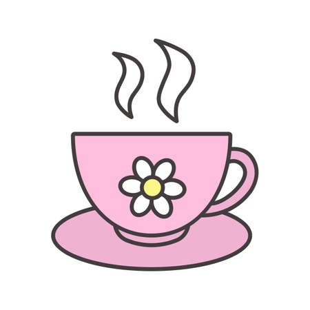 Cup of herbal tea color icon Illustration