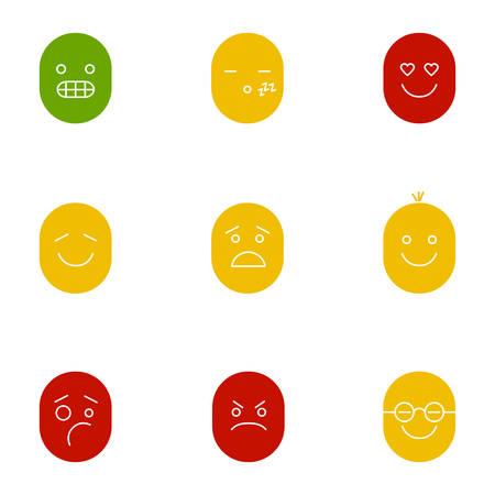 Smiley glyph color icon set