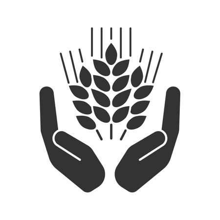 Open palms with wheat ears glyph icon