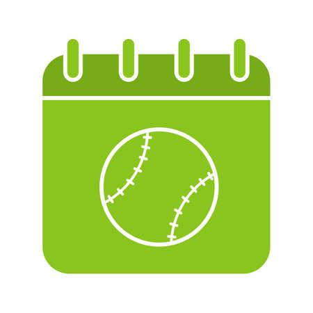 Baseball tournament date glyph color icon Illustration