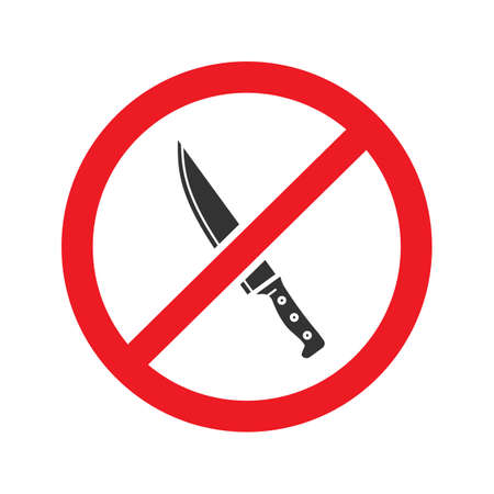 Forbidden sign with knife glyph icon Illustration