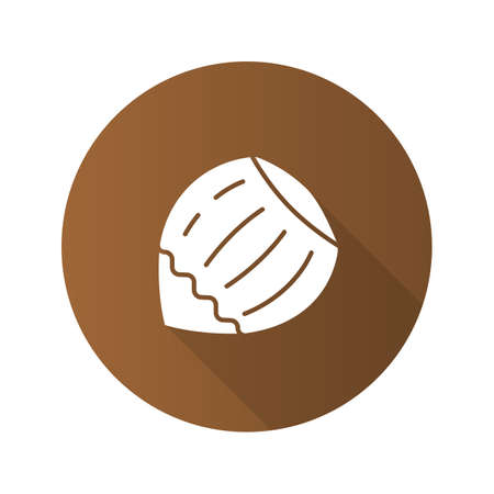Hazelnut flat design long shadow glyph icon