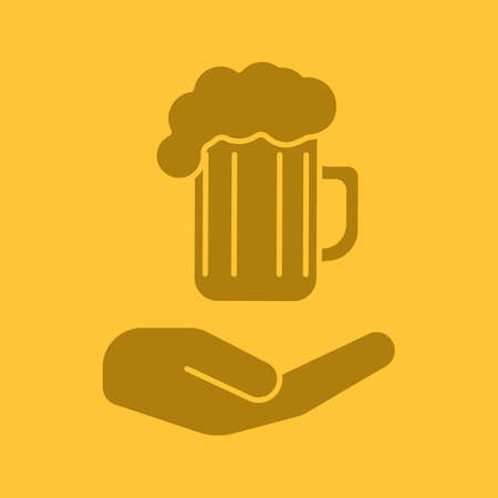 Open hand with beer mug glyph color icon