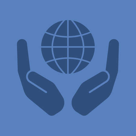 Open palms with globe glyph color icon