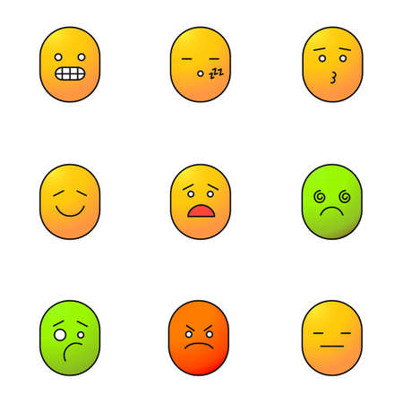 Smiley color icons set