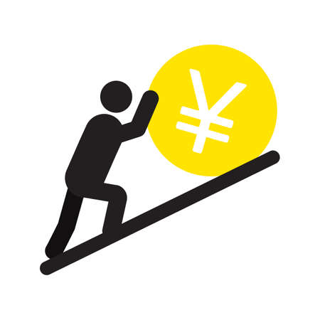 Man pushing yen sign up silhouette icon Illustration