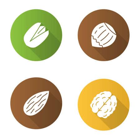 Nuts flaches Design lange Schatten Glyph Icons set