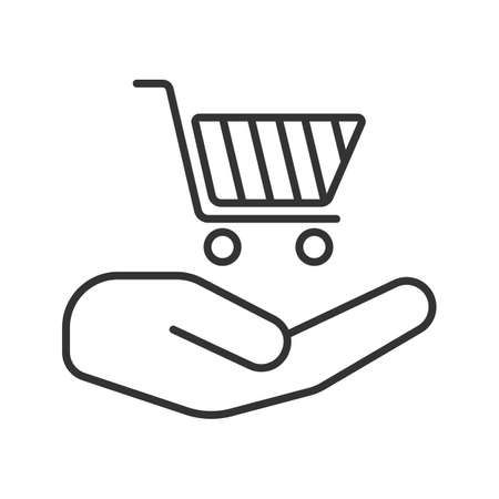Open hand with shopping cart linear icon