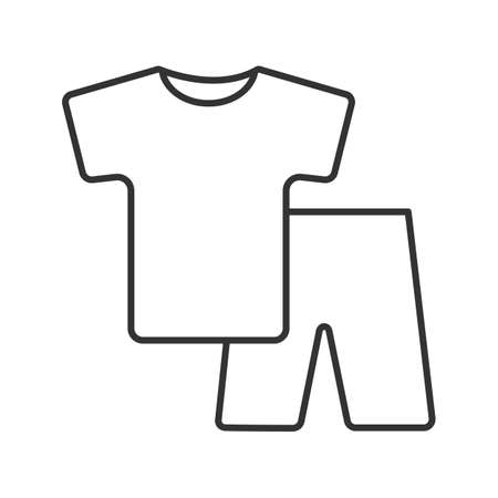 Pajamas linear icon. Nightwear. Thin line illustration. Shorts and t-shirt. Contour symbol. Vector isolated outline drawing Illusztráció