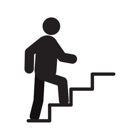 Homme qui marche vers le haut de l'icône silhouette de l'escalier. Évolution de carrière. Illustration vectorielle isolée Monter les escaliers Vecteurs